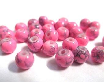 Pink speckled Black 4mm 20 beads
