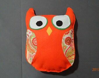 Orange owl, felt pillow