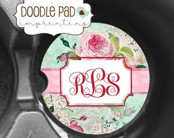 Floral Car Coaster, Shabby Chic Car Coaster, Monogram Cup Holder Coaster