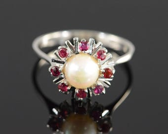 14k 6.50mm Pearl 0.25 Ctw Ruby Vintage Ring Gold