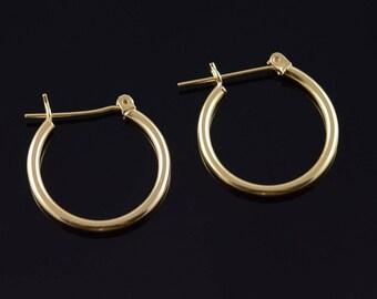 14k Hollow Hoop Tube Earrings Gold