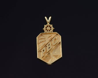 14k 1960's Palm Beach Club Resort Palm Tree Pendant Gold