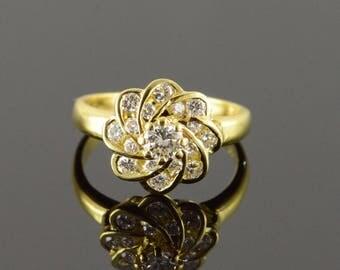 18k 0.40 CTW Diamond Pinwheel Engagement Ring Gold