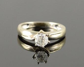 14k 0.62 CT Round Brilliant Diamond Engagement Ring Gold