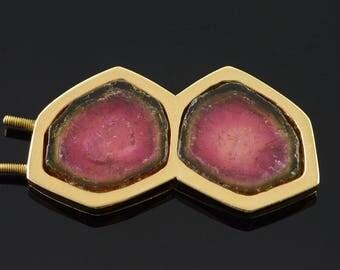 14k 45x25mm Watermelon Tourmaline Screw on Enhancer Add On Pendant Gold