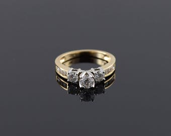 14k 0.87 CTW Diamond 3 Stone Inset Engagement Ring Gold