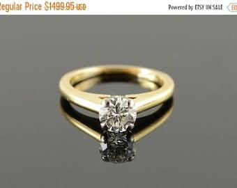 Big SALE 14k 0.76 CT Diamond Solitaire Engagement Ring Gold
