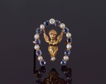 10k Sapphire* Pearl Horseshoe Angle Cherub Pin/Brooch Gold