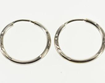 14k Grooved Diamond Cut Patterned Rounded Hoop Earrings Gold