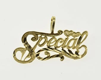 14K Special Grooved Wavy Scroll Design Heart Accent Pendant Yellow Gold
