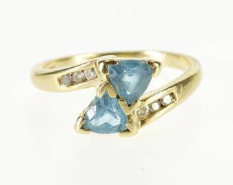 10K Trillion Blue Topaz Diamond Accented Freeform Ring Size 5.75 Yellow Gold
