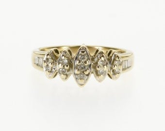 10k Pointed Cluster Round Baguette Diamond Ring Gold