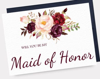 Will You Be My Maid of Honor Card, Printable Asking Card, Marsala Wedding, Watercolor Floral, Matron of Honor - INSTANT DOWNLOAD - WP1AC