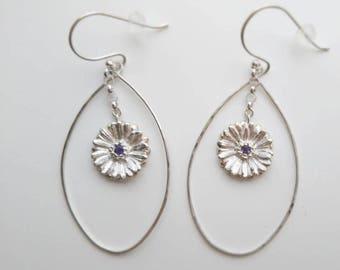 Gerbera dangle earrings,  Gerbera drop Hoop earrings, Flower earrings, African Daisy, daisy earrings, sterling silver