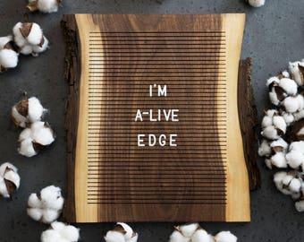 Wooden Letter Board - Live Edge Walnut - Letterboard, Message Board, Felt Board, Wall Decor, Handcrafted, Photo Prop, Mid-Century Modern