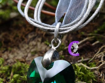 Emerald Green swarovski crystal heart pendant