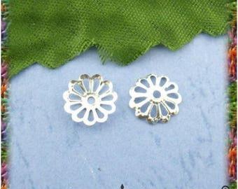 400 pearls openwork flower 8.5 mm silver, gold or bronze