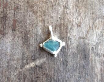 Tiny Sea Glass Silver Handmade Pendant