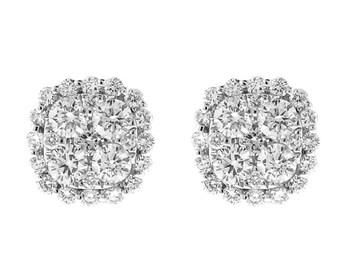 Cushion Shape Diamond Cluster Earrings / Studs - 18kt White Gold Jewelry [#12236]
