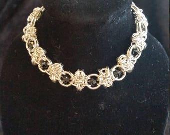 925 Sterling Silver Honeycomb Bracelet - Black Swarovski Crystals