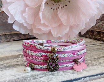 Gift for teacher ! Bracelet Liberty of London® fabric, silk ans Swarovski® bead