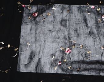Embroidered  Chiffon Fabric Bright Rose Floral  Semi Sheer Apparel