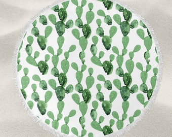 Watercolor Cactus over-sized round beach towel