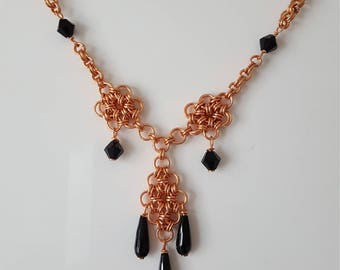 Rose gold plated chain maille and Black spinel necklace
