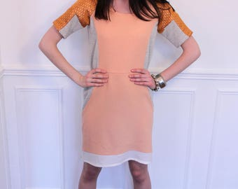 Dress short sleeves with cut-outs. Grey, peach and copper