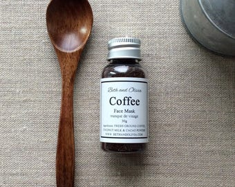 Coffee face mask, coffee oatmeal dry mask, natural face mask, clay free mask, detox mask, energizing mask
