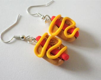 Earrings hot dog gourmet mustard red sausage sandwich fimo
