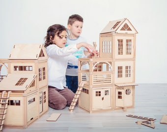WOODJO BASIC 142 Magnetic Wooden Building Blocks Set, Wooden Doll house, Waldorf Montessory Toy, Kids Christmas gift