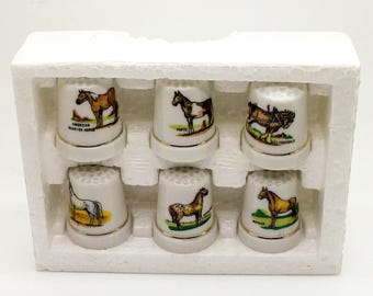 Porcelain Thimble Set Horses Farm Animal Equestrian Or Birds Or Musical Instruments Set Of 6 Your Choice Gift For Music Teacher