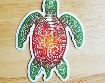 Sea Turtle Sticker | Digitally Colored | Curbed Chaos