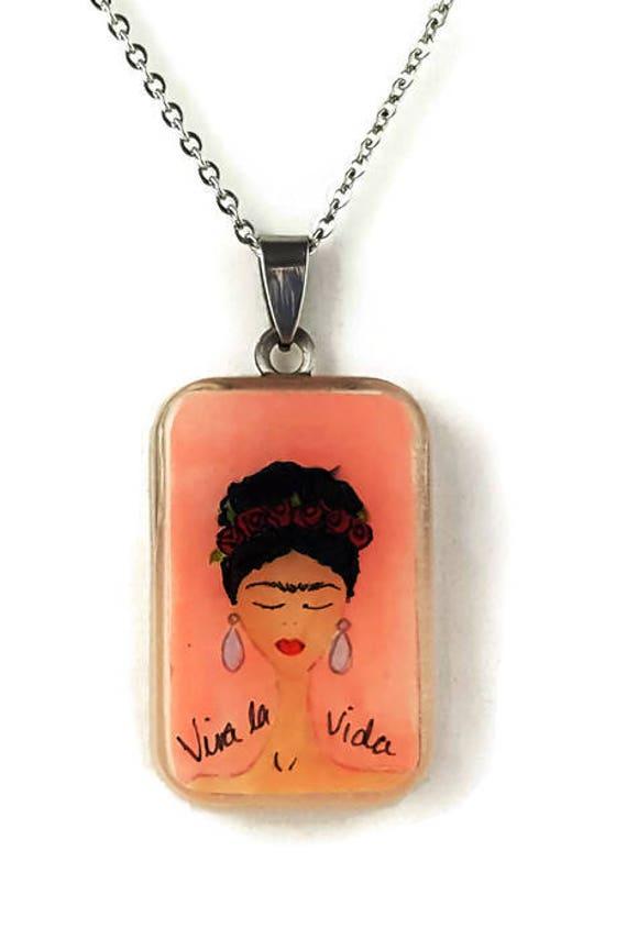 Pink Frida Kahlo pendant necklace
