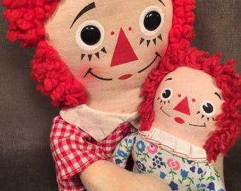 Vintage Knickerbocker Raggedy Ann & Raggedy Andy dolls