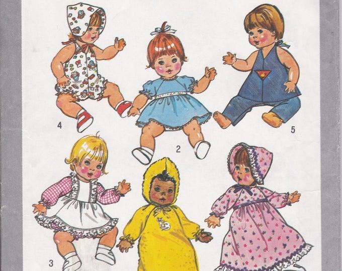 "FREE US SHIP Simplicity 9753 Vintage Retro 1980s 80s Sewing Pattern Babydoll Doll Size 13 14"" Factory Folded Dress Bonnet"