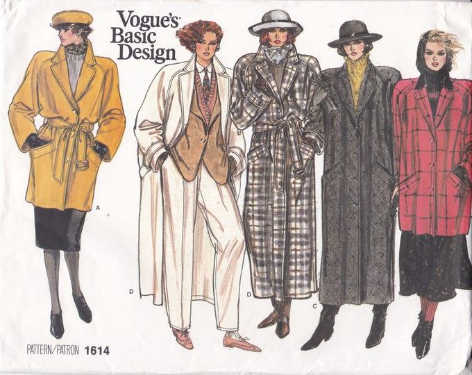 Free Us Ship Sewing Pattern Vogue 1664 Vintage Retro 1980's Basic Design Coat Jacket Evening Length Size 6 8 10 Bust 30.5 31.5 32.5 Uncut