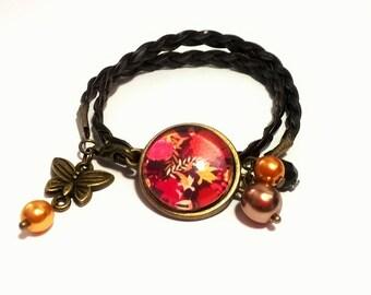 Suedine bracelet black •FLEUR • RETRO