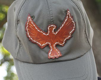 Trucker Ball Cap with Hand Tooled Leather Thunderbird/Eagle Patch, Southwestern, Western, Boho Olive Green Hat