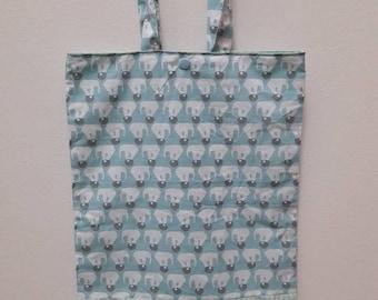 Blue elephants pattern library bag