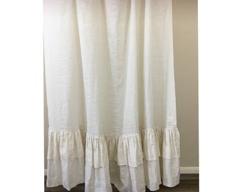 Cream Linen Shower Curtain with Double Layer Ruffles, Fabulous Chic! Mildew-Free, 72x72, 72x85, 72x94, or Custom Size