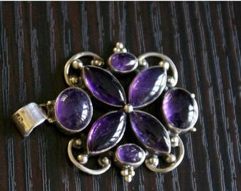 ON SALE One of a Kind AMETHYST Silver Pendant