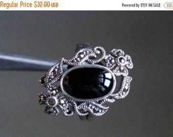 ON SALE Elegant Black Onyx, Marcasite Silver Ring