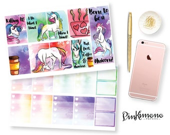 Unicorns & Coffee Weekly Planner Sticker Kit | 103 Stickers