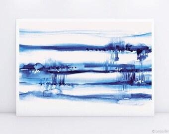 Far Away, blue watercolor painting, indigo abstract painting, blue abstract print, watercolor abstract art, blue watercolor
