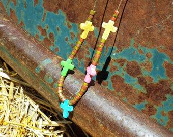 Cross bead necklace,religious,Jesus,cross,beaded necklace