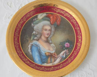 Vintage Limoges Cabinet Plate with Handpainted Portrait Decor, France