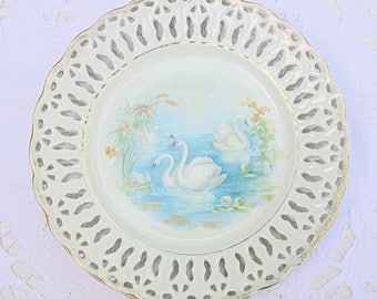 Set of Three Lovely Antique Porcelain Plates with Swan Decor, Reticulated Rim, Ornamental Plates, France