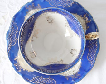 Beautiful Vintage Porcelain Teacup and Saucer, Cobalt Blue and Gold Decor, Bareuther Bavaria, Germany